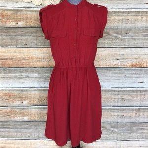 Gap Red Black Polka Dot Retro Dress With Pockets